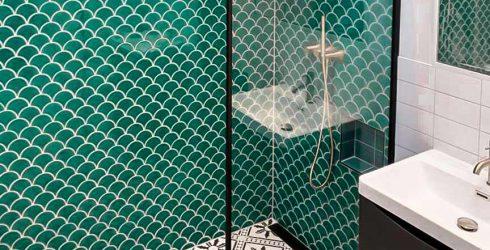 Fan tiles in shower