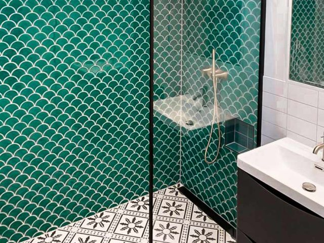 Fan tiles in shower